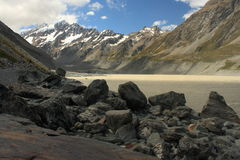 Hooker lake in Mount Cook National Park Royalty Free Stock Images