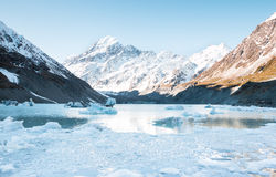 Hooker Lake and mt. Cook, Aoraki National Park Royalty Free Stock Photos