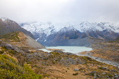 Hooker lake Mt cook valleys New Zealand Royalty Free Stock Photography