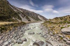 Hooker River in Aoraki national park New Zealand Stock Photo