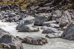 Hooker River in Aoraki national park New Zealand Royalty Free Stock Photo