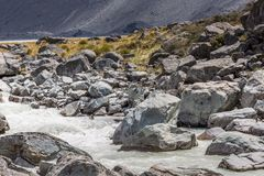 Hooker River in Aoraki national park New Zealand Royalty Free Stock Image