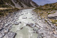 Hooker River in Aoraki national park New Zealand Stock Image