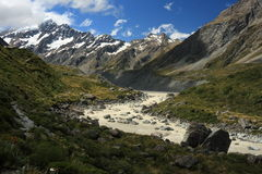 Hooker river in Mount Cook National Park Stock Image