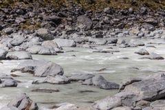 Hooker Rivier in het nationale park Nieuw Zeeland van Aoraki Stock Foto's