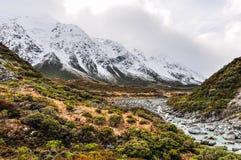 Hooker Track in Aoraki/Mount Cook National Park, New Zealand Royalty Free Stock Photo