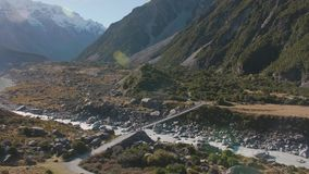 Valle in the Mount Cook National Park stock video