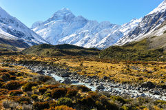Hooker Valley in Aoraki/Mount Cook National Park, New Zealand Royalty Free Stock Photo