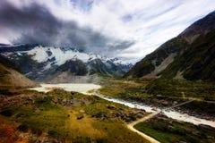 Hooker Valley Hike New Zealand. Taken in 2015 taken in HDR Stock Image