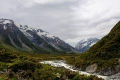 Hooker Valley Hike New Zealand. Taken in 2015 taken in HDR Stock Photo