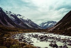 Hooker Valley Hike New Zealand. Taken in 2015 taken in HDR Royalty Free Stock Photography