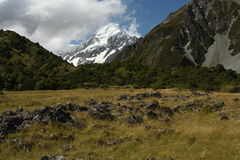 Hooker Valley with Mount Cook in background Stock Image