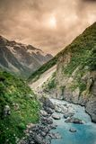 Hooker Valley, Mount Cook, New Zealand. The track leads up the Hooker Valley and along the Hooker River, ending at the glacier lake, where there are amazing Royalty Free Stock Images