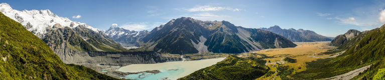 Hooker Valley and Mount Cook Panorama. Mount Cook National Park, New Zealand Royalty Free Stock Photography