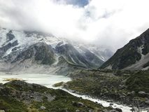 Hooker Valley Vista. View along Hooker Valley Track, New Zealand Royalty Free Stock Images