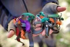 Climbing equipment view Stock Photos