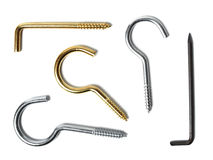 Hooks on white. Collection of wall hooks isolated on white background Stock Photography