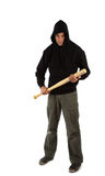 Hooligan with baseball bat. Angry hooligan with baseball bat isolated on white Stock Photo