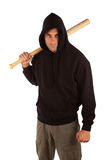 Hooligan with baseball bat. Angry hooligan with baseball bat isolated on white. Focus on bat Stock Photo