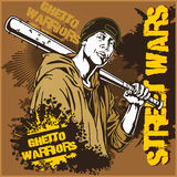 Hooligan with baseball bat. Ghetto Warriors. Gangster on dirty graffiti background. Royalty Free Stock Photography