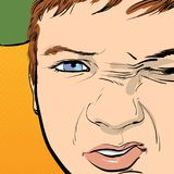 Hooligan boy gets angry, grimacing an angry face. Vector illustration isolated on background Stock Images
