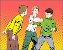 Hooligan boys. Teen Boys In Fist Fight. Fighting boys. Vector illustration isolated on background Stock Photos