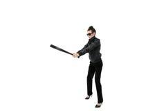 Hooligan da mulher isolado no branco foto de stock