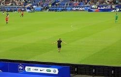Hooligan at France-Belgium football match Stock Images
