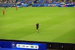 Hooligan at France-Belgium football match Stock Photo
