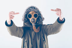 Hooligan with gas mask Royalty Free Stock Image