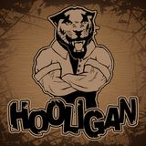 Hooligan-pantera image on a wooden background. vector illustration