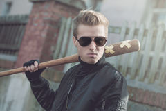 Hooligan portrait with baseball bat Stock Photo