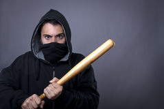 Hooligan ready for fight. Hooligan with baseball bat ready for fight - copy space royalty free stock images