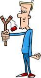 Hooligan with slingshot cartoon illustration. Cartoon Illustration of Hooligan or Rascal with Slingshot Royalty Free Stock Photos