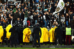Hooliganism during a football game Stock Photography