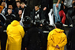Hooliganism during a football game Stock Images