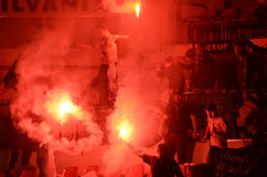 Hooligans with flares Stock Photo