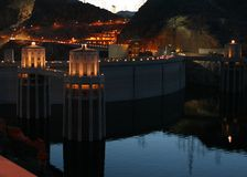 Hooover Dam at night. Hoover Dam lighted at night Stock Photo
