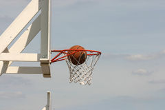 Through the hoop. Basketball score through the hoop stock image