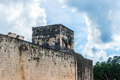 Hoop and Building, Mayan Ball Game Field. at chichen Itza, Trave Stock Photo
