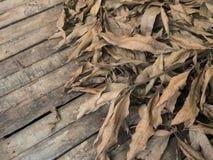 Hoop droge bladeren op hout Royalty-vrije Stock Foto