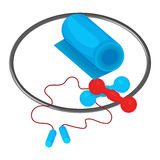 Hoop, dumbbells, skipping rope and mat icon  on the white background. Sports equipment illustration set Stock Photos