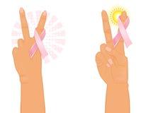 Hoop en overwinning voor borstkanker Stock Fotografie