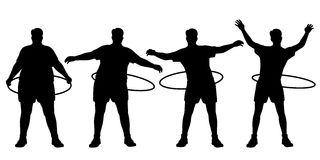 Hoop fitness. Editable vector sequence of a man losing weight through hula hoop exercise with figures and hoops as separate objects Stock Photography