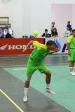 Hoop Takraw : Chonburigame Thailand. CHONBURI, THAILAND - December 17 : Hoop Takraw is kicking the ball game. The hoop round to hang up 7 meter. The player must Stock Photo