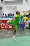 Hoop Takraw : Chonburigame Thailand. CHONBURI, THAILAND - December 17 : Hoop Takraw is kicking the ball game. The hoop round to hang up 7 meter. The player must Royalty Free Stock Images
