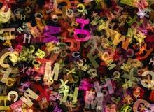 Hoop van abstracte chaotische multicolored alfabetbrief royalty-vrije illustratie