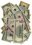 Hoop van dollars die op wit, besparingenrijkdom worden geïsoleerdt Stock Afbeeldingen