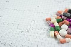 Hoop van geneeskundepillen op het document van het cardiogramnet Royalty-vrije Stock Afbeelding