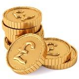 Hoop van gouden muntstukken met pond Sterlingteken Stock Afbeeldingen